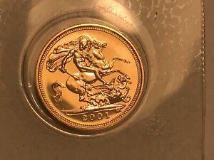 2001 Gold Half Sovereign Elizabeth II. B/unc In Original Sealed Packet