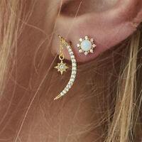 Fashion Women Crystal Star Moon Crescent Ear Stud Dangle Drop Earrings Jewelry