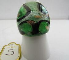 Style Glass Ring. Uk.P/Q.Us.7.75 (5) A Green,Black,Silver & Copper Murano
