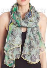"""EMILIO PUCCI green blue SEASHELLS silk Chiffon 52x72"""" Giant shawl NWT Authentic!"""