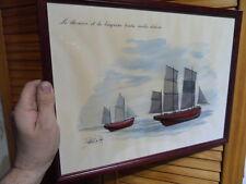 Repro d' aquarelle avec demi coque de bateau breton bois signé Patrick le Port