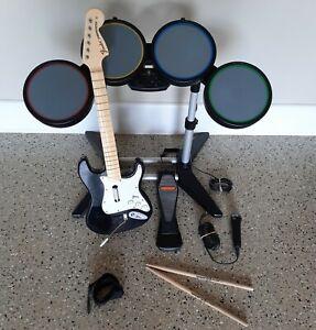 PS3 PS4 PlayStation 3 Rock Band Drum Set kit Stratocaster Guitar Hero Bundle PS2