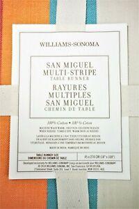 "William Sonoma San Miguel Stripe Table Runner 18"" x 108"" (45x274cm) Year 2014"