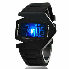 Men's Sport Digital LED Luxury Fashion Black Stainless Steel Wrist DIAL Watch