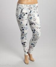 Poliana Plus White Blue Rose Sugar Skulls Leggings 3X Sz 20-22 Women's Glam NWT