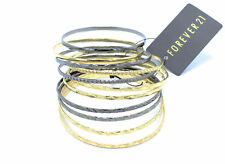 New Gold & Hematite Petite Metal Bangle Set by Forever 21 #B1242