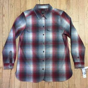 Women's Pendleton Board Shirt NWT Red Grey Ombre Shadow Plaid Wool petite sizes