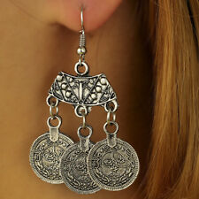 Hooks Earrings Coins Ear Stud Kw Bohemian Coin Hippie Tibetan Tribal Dangle