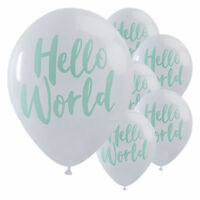 10 Hello World White Mint Green New Baby Shower Party Latex Printed Balloons