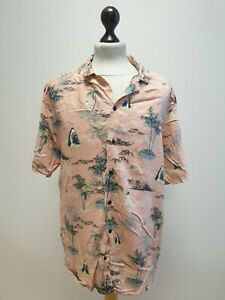 MENS H&M DIVIDED PINK MIX PALM TREE THEME S/SLEEVED HAWAIIAN SHIRT UK L EU 52-54