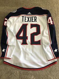 NHL Columbus Blue Jackets Game Worn Jersey Alexandre Texier Worn In 5OT Game