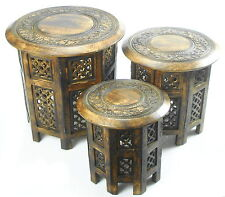 Round Brown White Hand Carved Indian SHESHAM Wooden Coffee Table