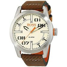 HUGO BOSS MEN'S 44MM BROWN CALFSKIN BAND STEEL CASE QUARTZ WATCH 1513418