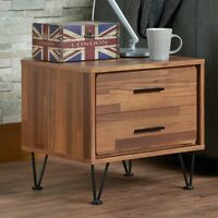 Modern Industrial 2-Drawer Nightstand Bedroom Display Storage End Table Brown