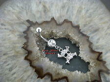 Bauchnabel Piercing TOTENKOPF PIRAT Jolly Rogers mit Kristalle Klar