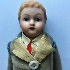 "Antique 8"" Parian China Boy Doll in Original Clothing"