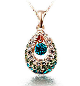 Fashion 18k Gold Teardrop Colorful Rhinestone Crystal Pendent Necklace Jewelry