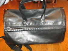 Great Duffel/Weekend Bag: Black Leather, Collapsible - Unknown Maker