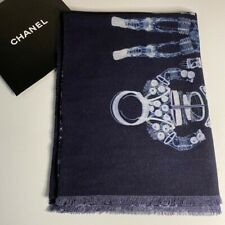 New Authentic Chanel Dark Blue Runway Space Astronaut Print Cashmere Scarf/Wrap