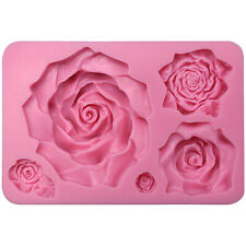 Large 5 Assorted Sizes Roses Fondant Silicone Mould