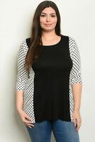 Black and White Polka Dot Plus Size Tunic Top 3XL Jersey Knit