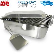 Roaster Stainless Steel Lasagna Pan - Cover Rack Spatula Deep Roasting Pan