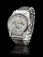 Flair Herren Armband Uhr Silber Datumsanzeige Datum Stahl SK2 mit Flair Uhrenbox