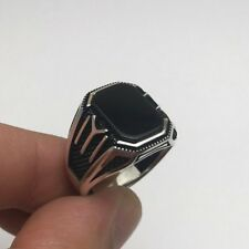 Turkish Jewelry Black Onyx Kayi Iyi Edge 925K Sterling Silver Men's Ring