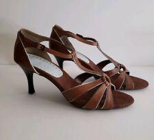 6cb4378805a  NEW  Merona Brown Leather T-Strap Sandal Heel w Light Blue