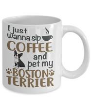 Sip Coffee With Boston Terrier Coffee Mug, Boston Terrier Mug