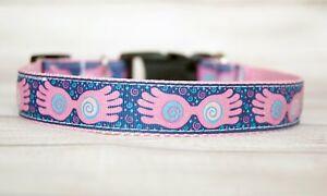 "Large Looney female wizarding glasses dog collar. 1"" wide. Handmade"