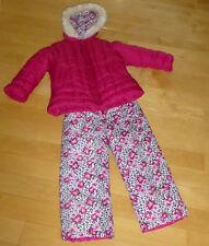 CLEAN London Fog Rose & Leopard 2-Pc Snowsuit Set Sz 5/6 Coat & Bib Snow Pants