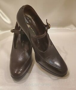 Patrick Cox Leather Shoes Italy Women size 5M (EU 35.5) Brown, T-Strap High Heel