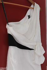 NEW Vera Wang Gorgeous White Blk Jacquard Silk 1 Shoulder Cocktail Dress 6 $320