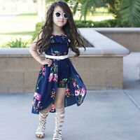 Kids Girls Floral Print Dress Romper Dresses Summer Beach Party Jumpsuit Outfits