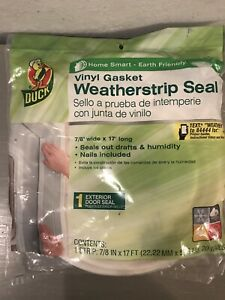 """Duck Vinyl Gasket Weatherstrip Seal 7/8"""" Wide by 17' Long + 20 Nails NEW"""