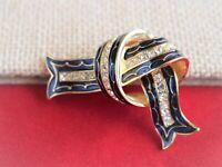 Joan Rivers Blue Enamel Crystal Rhinestone Bow Knot Ribbon Brooch Pin