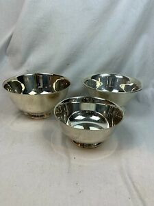 "Lot of 3 Poole, Reed & Barton, Oneida Paul Revere Silver Plate Bowl 8"" c878"