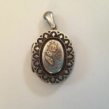 Antique Victorian English Hallmarked Sterling Silver & 9K Gold Locket-Flowers