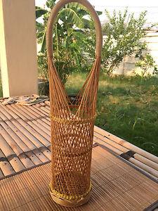 Bottle Carrier bamboo Park Holder Vine Drink Basket Picnic