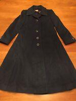Vintage Regency Cashmere Overcoat Coat Jacket Blue Approx Size Medium Or 8