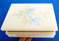 Alabaster Blue Floral Trinket Jewlery Box Hinged 4x5x2 Italy