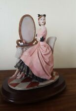 LADY AT DRESSING TABLE with mirror FIGURINE Foreign fashionista young women