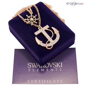Collana donna oro Swarovski Elements originale G4Love cristalli ancora timone
