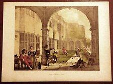 Stampa antica BRAMSHILL CASTLE Hartford GIOCO delle BOCCE 1869 Old antique print