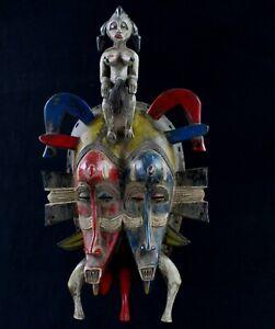 Arte Africano - Maschera Kpelie Doppia Viso Senoufo Senufo Mask - 35 CMS