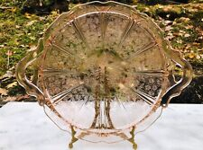 Pink Cherry Blossom Depression Glass Tray Double Handle by Jeannette Glass