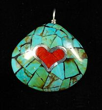 Native American Turquoise, Apple Coral and Silver Inlay Asian Clam Shell Pendant