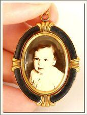 Vintage 1950's Gilt & Black Enamel German Photo Locket Pendant ! Visit My Store