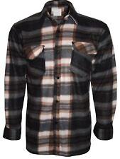 Warm Winter Brushed Fleece Lumberjack Work Check Not Padded Casual Apparel Shirt Brown / White 2xl